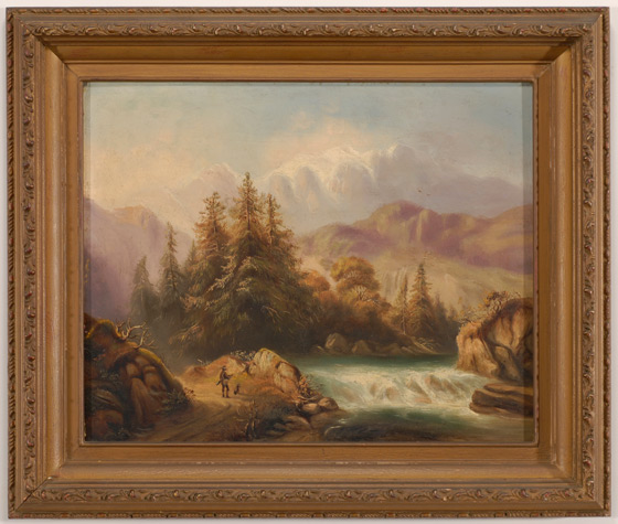 Austrian Landscape with Hunter at Rivers Edge