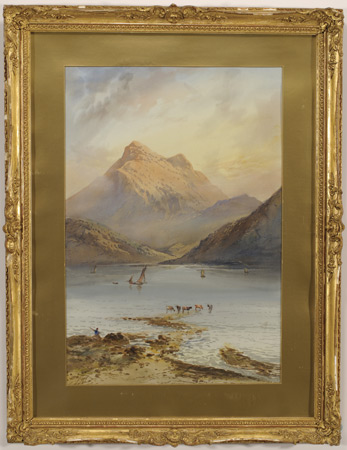 Watercolor of Lake and Mountain