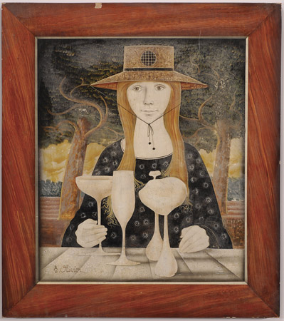 Portrait of a woman with goblets in the foreground