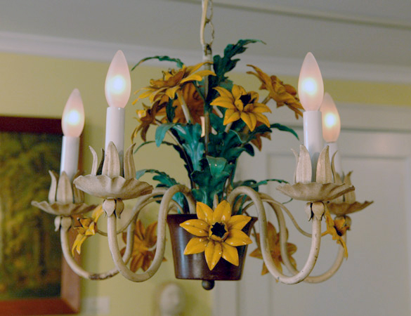 Painted Floral Tole Chandelier