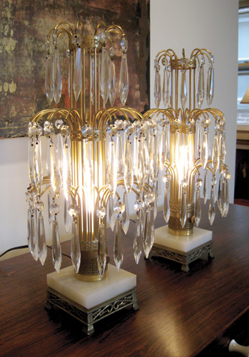 Pair of Crystal Waterfall Lamps