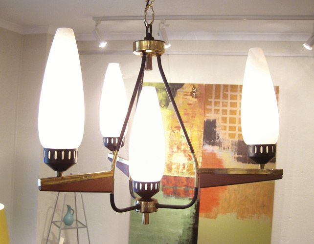 Four Light Wood and Brass Fixture