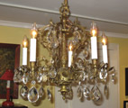 Small Brass Chandelier with Prisms
