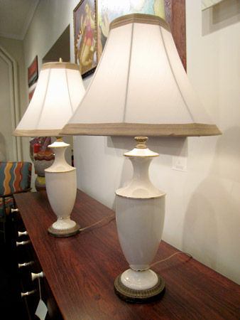 Pair of Ivory Porcelain Lamps with Gold Accents