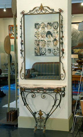 Wrought Iron Mirror with Marble Top Console