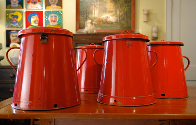 Red Tole Pots with Lids