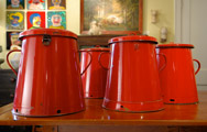 Red Tole Pots