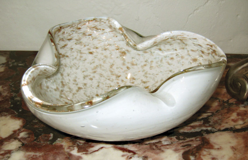 White and Gold Murano Ashtray