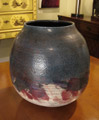 Large Raku Vase with blue, white and cranberry glazes