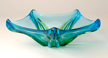 blue and green Murano dish