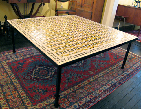 Mosaic Tile Top Coffee Table With Steel Base